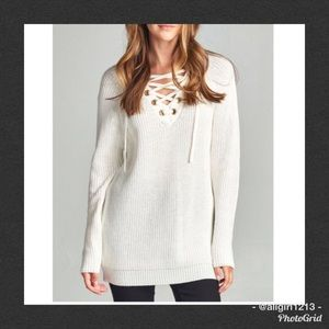 Sweaters - Off White Lace-Up Sweater